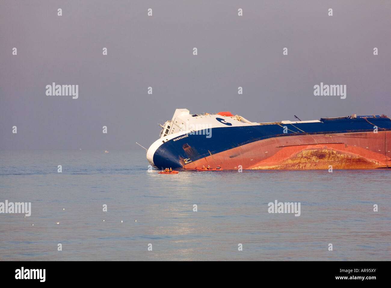 The shipwrecked Riverdance was a RORO ferry in service with Seatruck Ferries when it beached during a gale on the - Stock Image