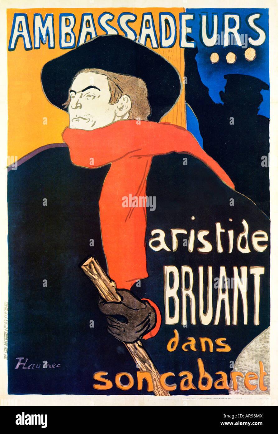 Ambassadeurs Artiste Bruant Toulouse Lautrec Style Art Nouveau Imprimé