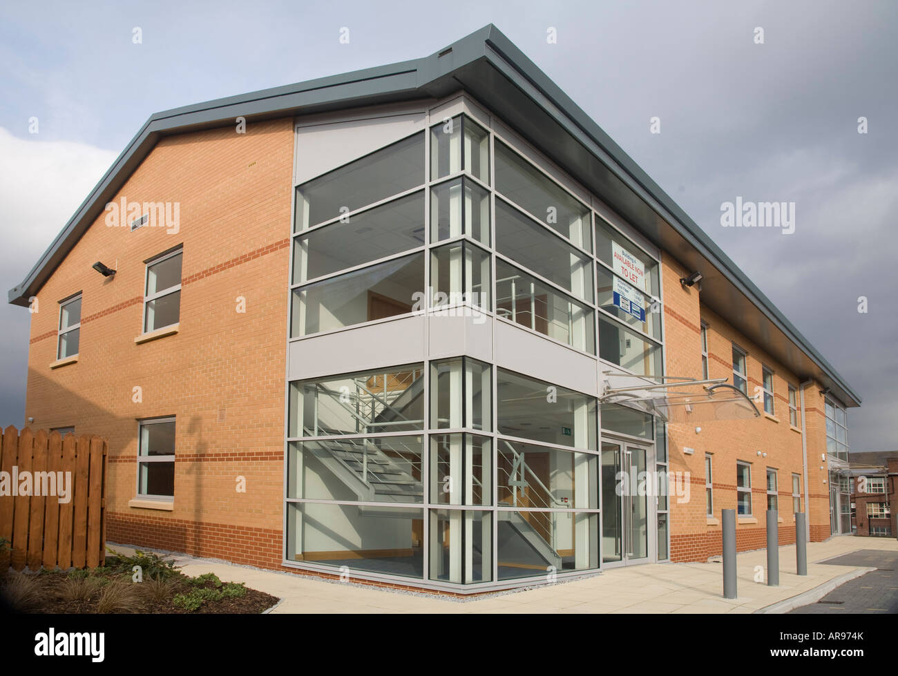 glass exterior modern office. Exterior Of Modern Office Block With Glass Reception.