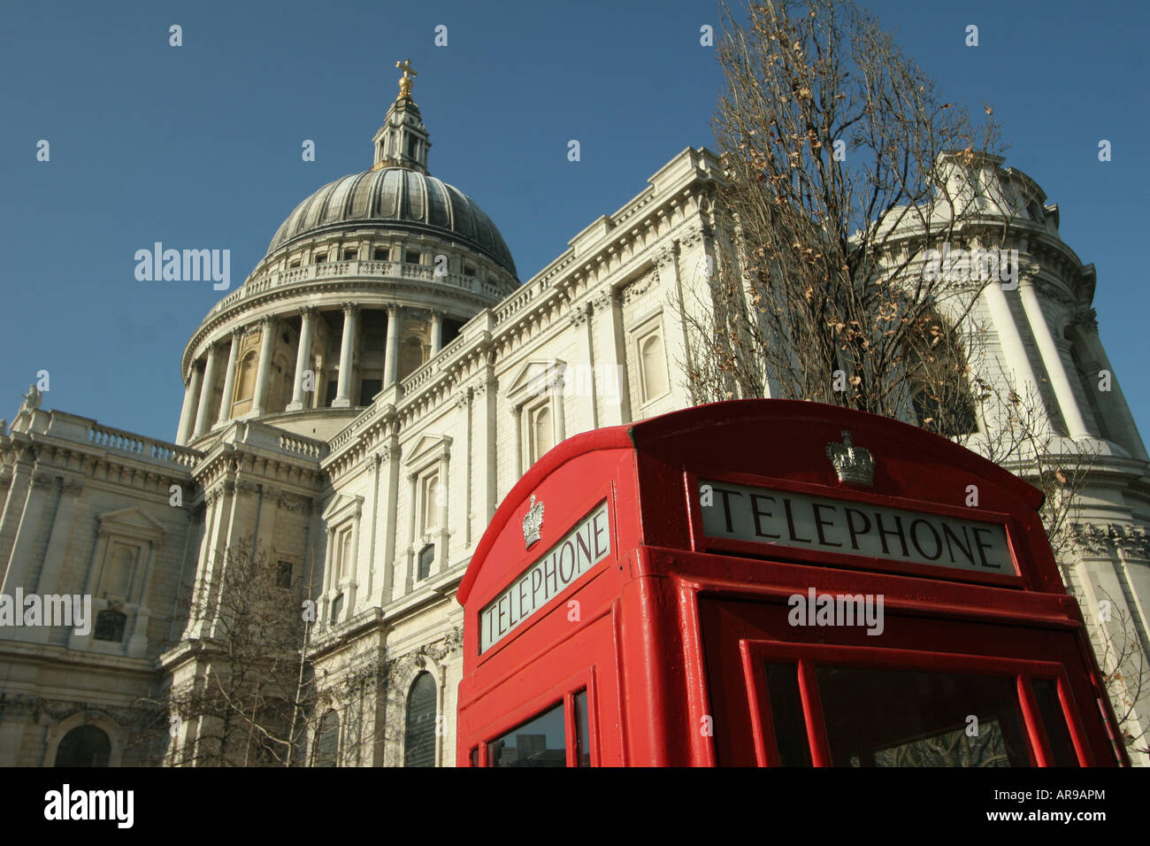 Red Phone Box, St Pauls Cathedral in Background, London, England, UK Stock Photo
