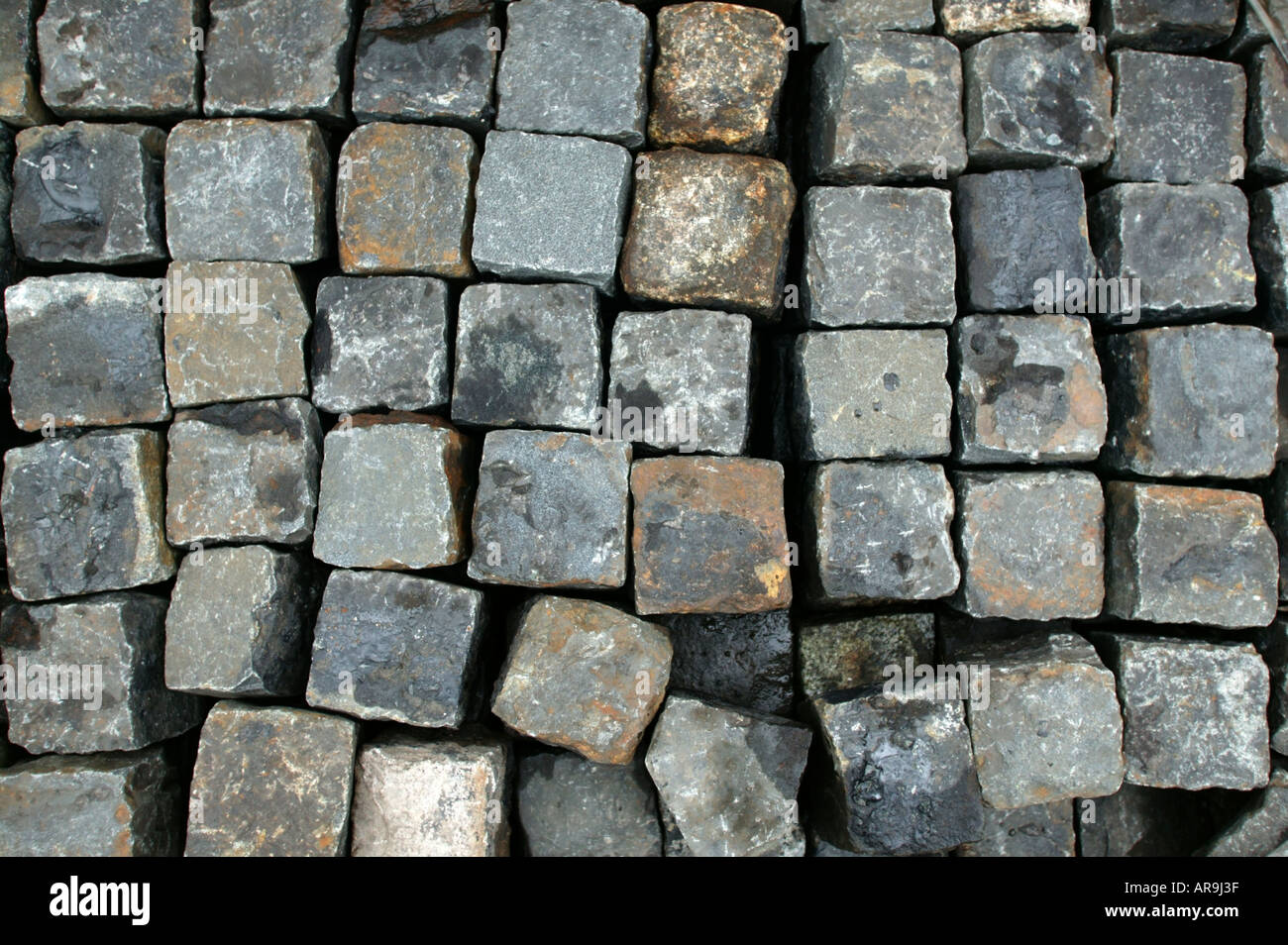 collection of granite road sets at solopark building  supplies yard - Stock Image