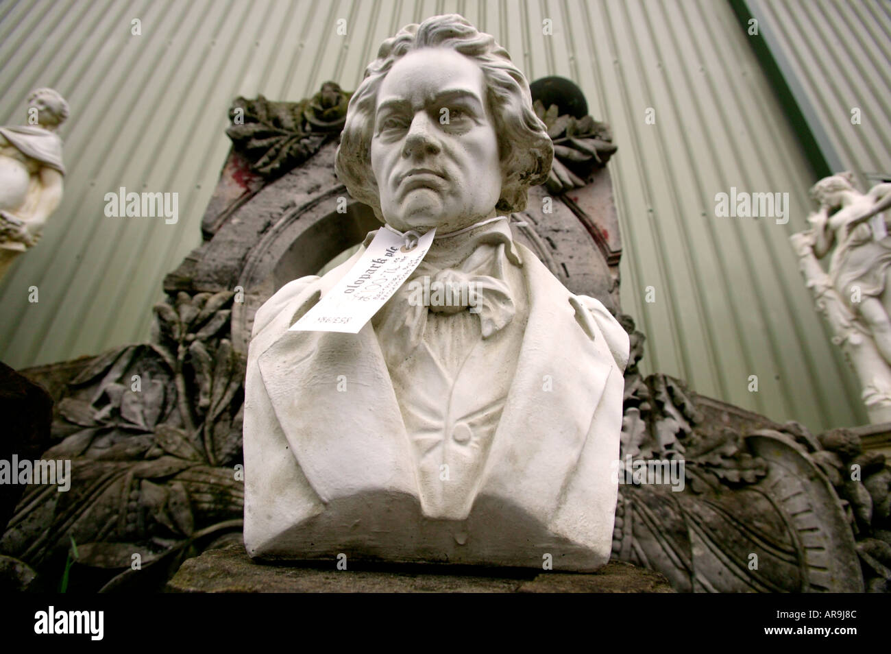 bust of beethoven at soloparks building supplies  yard, cambridgeshire, uk - Stock Image