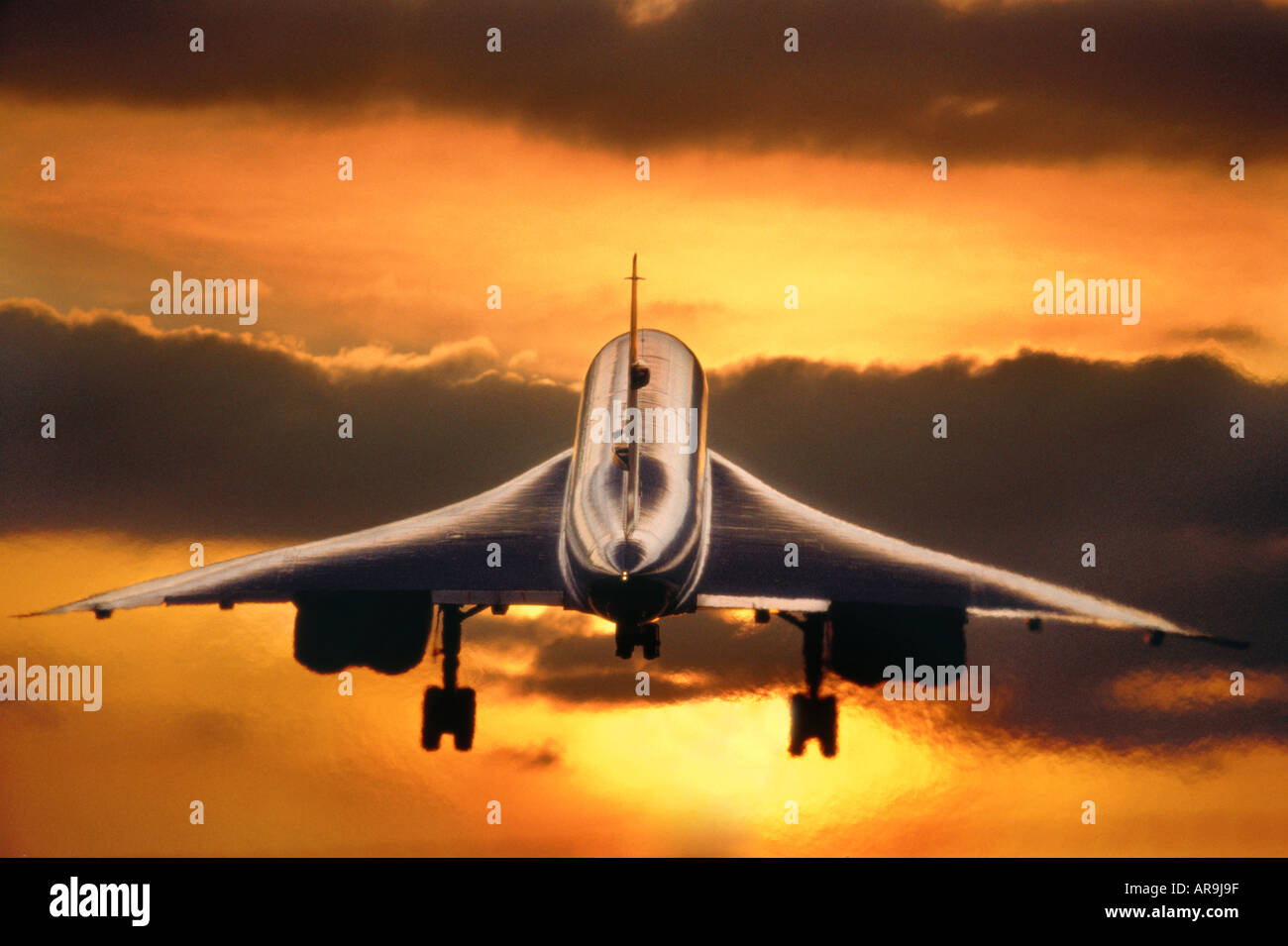 BAC BAE Aerospatiale Concorde supersonic jet thrust British Airways from London Heathrow airport to New York  flying - Stock Image