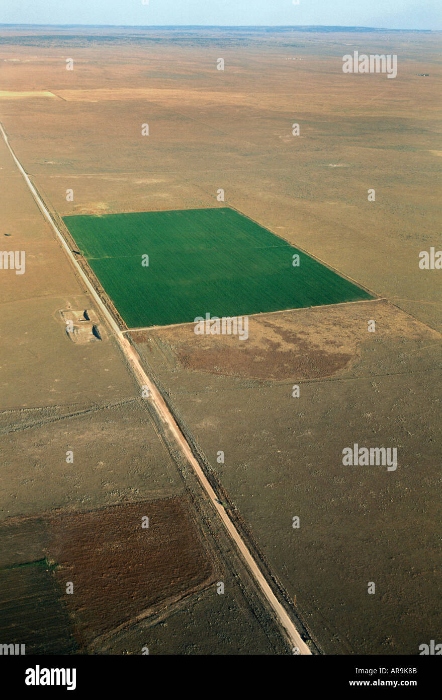 aerial view of desert irrigation farming agriculture oasis