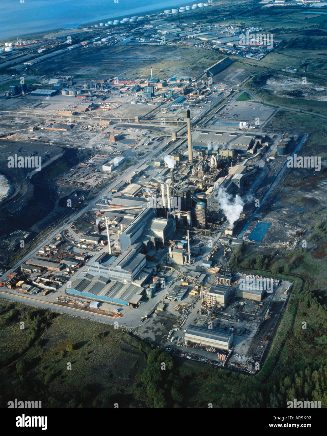 aerial view of zinc chemical works plant factory at Avonmouth near Bristol England UK - Stock Image