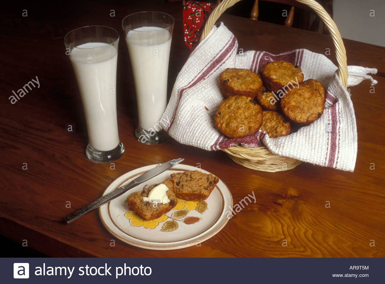 Raisin bran muffins home cooking - Stock Image