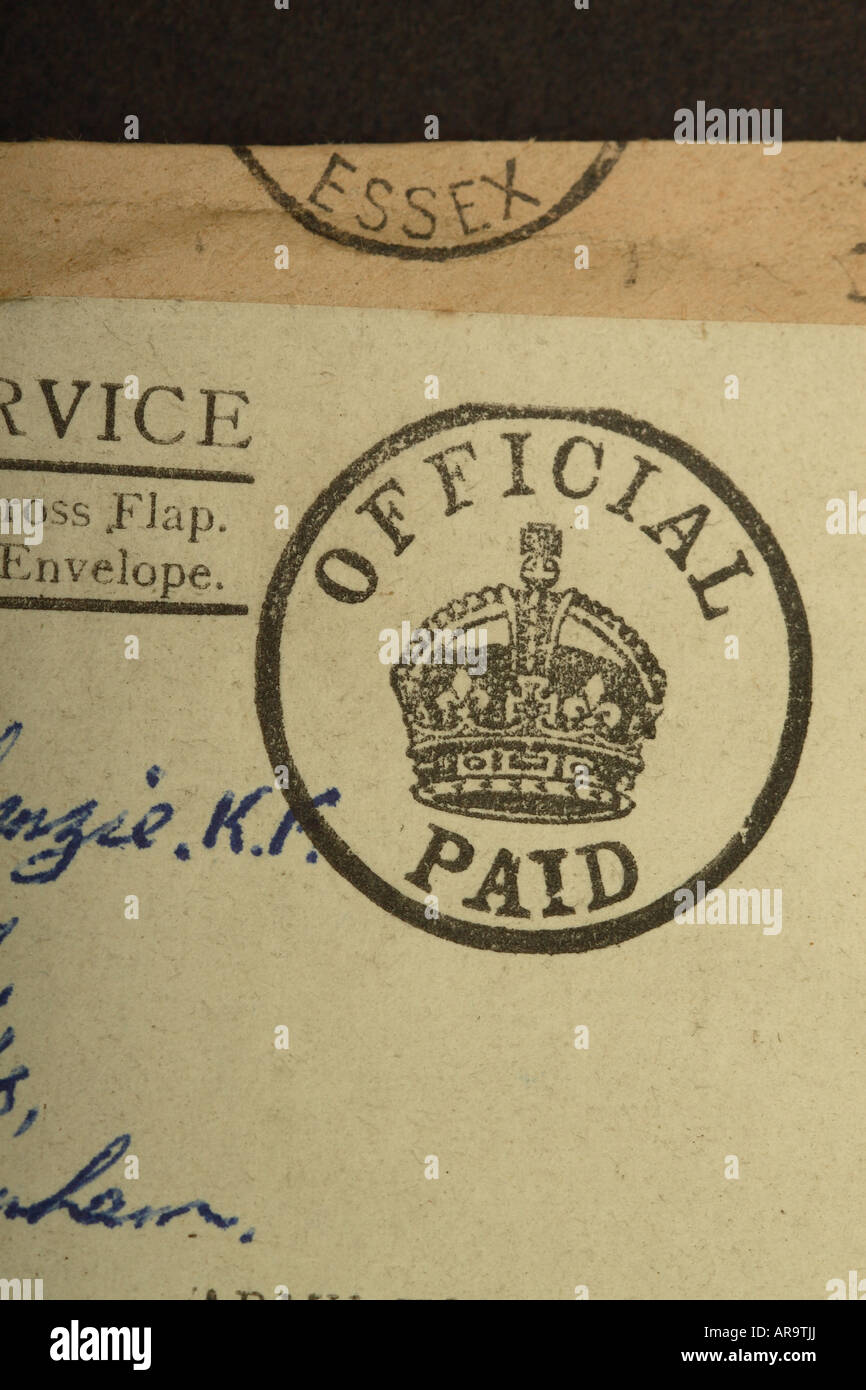 British Official Paid postage mail franking stamp from Second World War WW2 - Stock Image