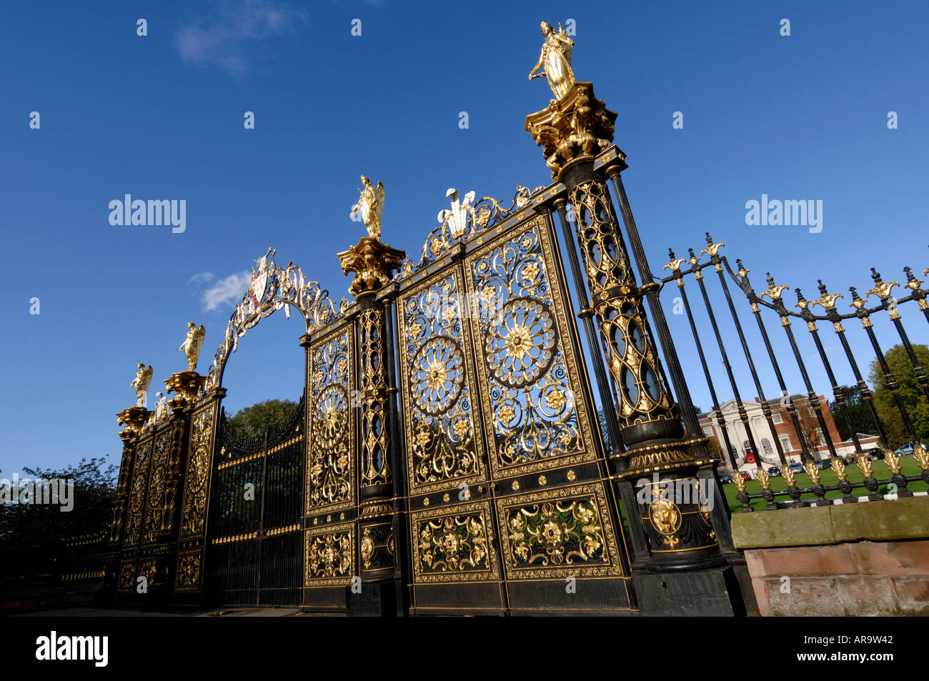 Warrington Town Hall golden gates Cheshire England UK Stock Photo