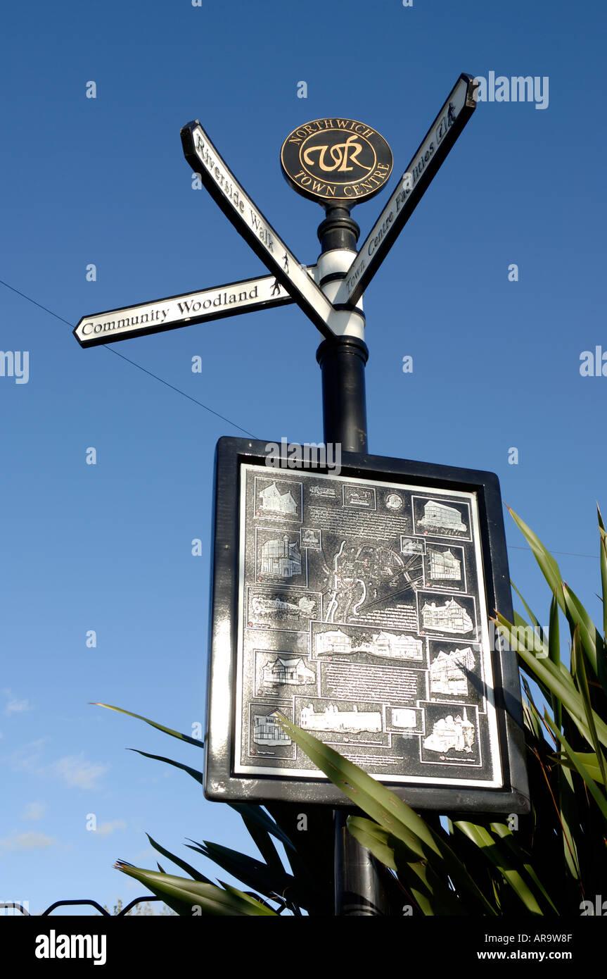 Northwich streetsign Cheshire England UK - Stock Image