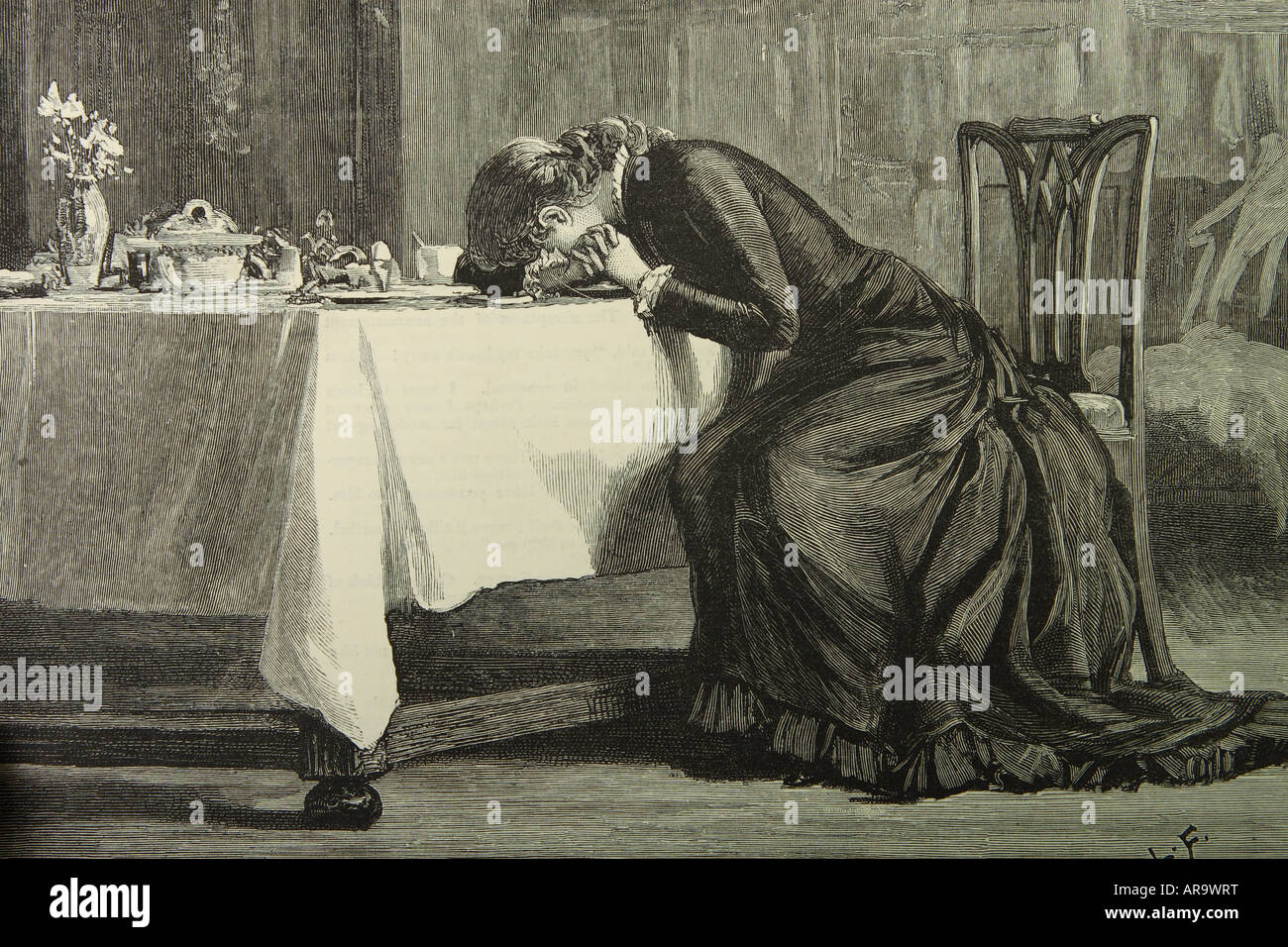 Victorian lady woman crying broken hearted at the breakfast table drawn by Luke Fildes and published in 1880 Stock Photo