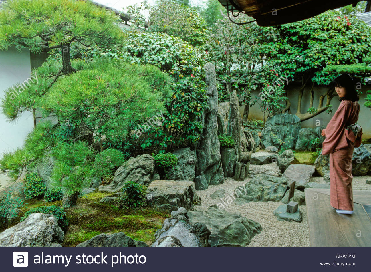 A Young Woman In Kimono At The Moss Garden With Part Of The Famous Stone  Garden At Ryoanji Temple, Kyoto Japan