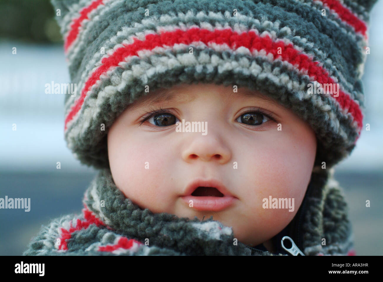 six (6) month old grandson in winter coat and hat poses outside in the  snow. Melrose Massachusetts b1bb36635aa
