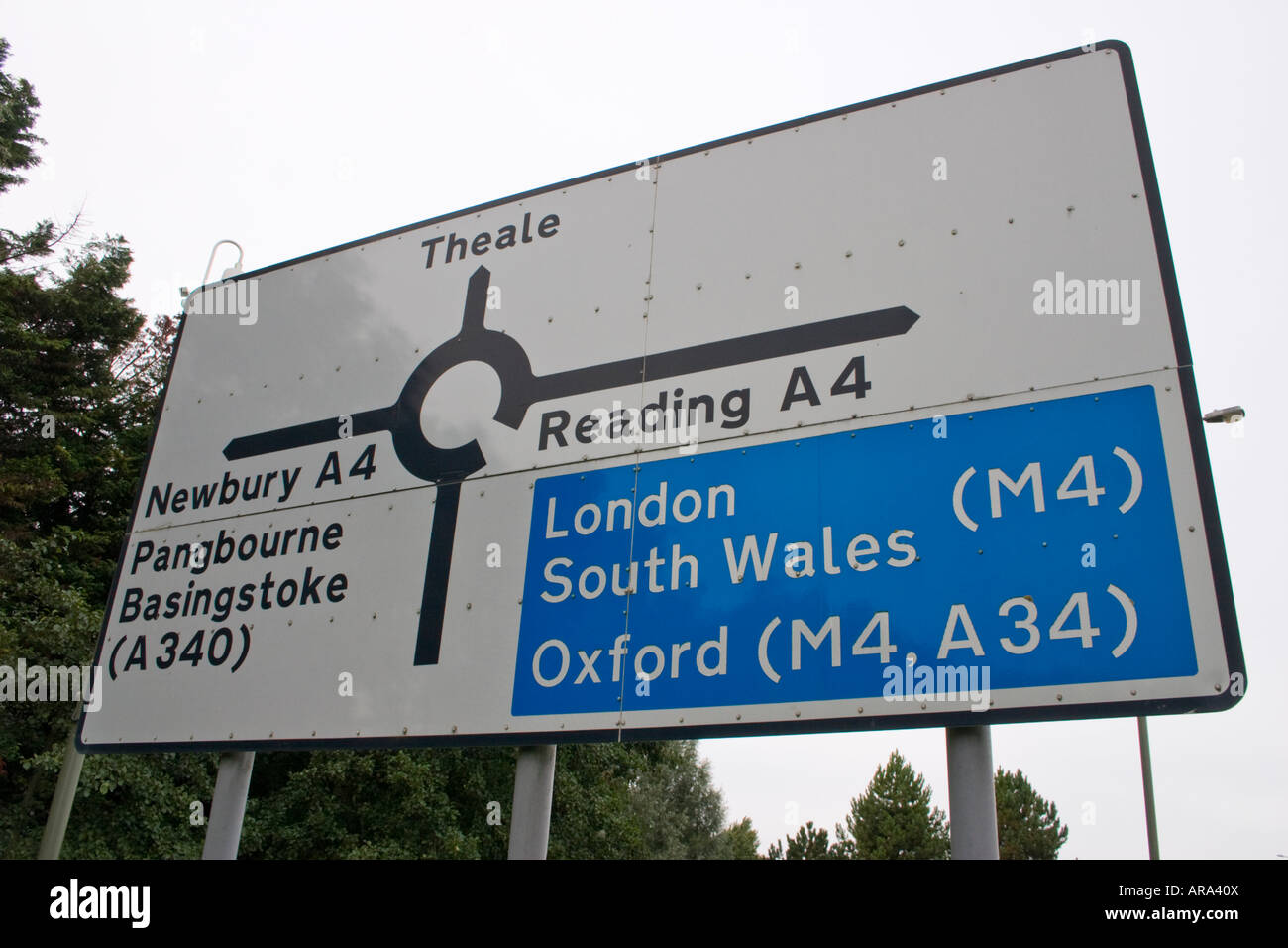 Navigational road sign on A4 at Theale below Junction 12 of the M4 motorway Reading Berkshire Stock Photo