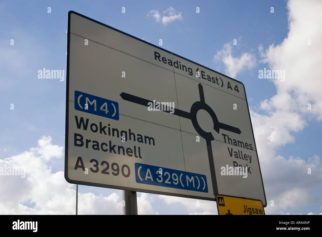 Navigational road sign on the A4 at the junction with the A329M in Reading Berkshire Stock Photo