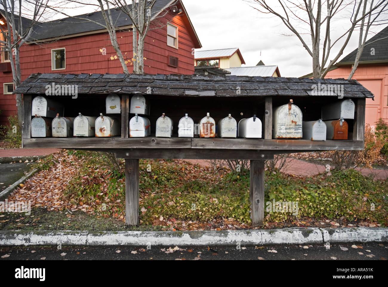 line up of mailboxes Issaquah Washington - Stock Image