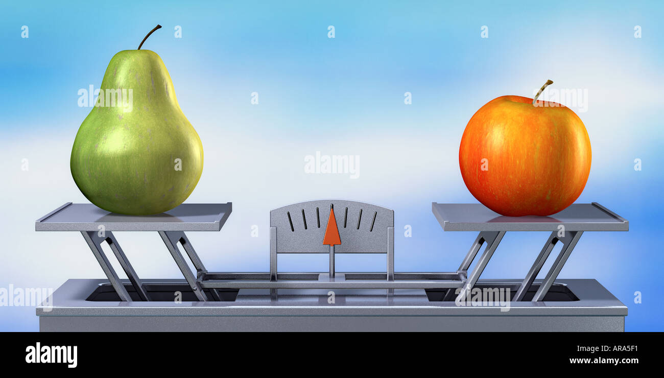 apple and pear on balance fruit symbol of weight comparison confrontation concept Stock Photo