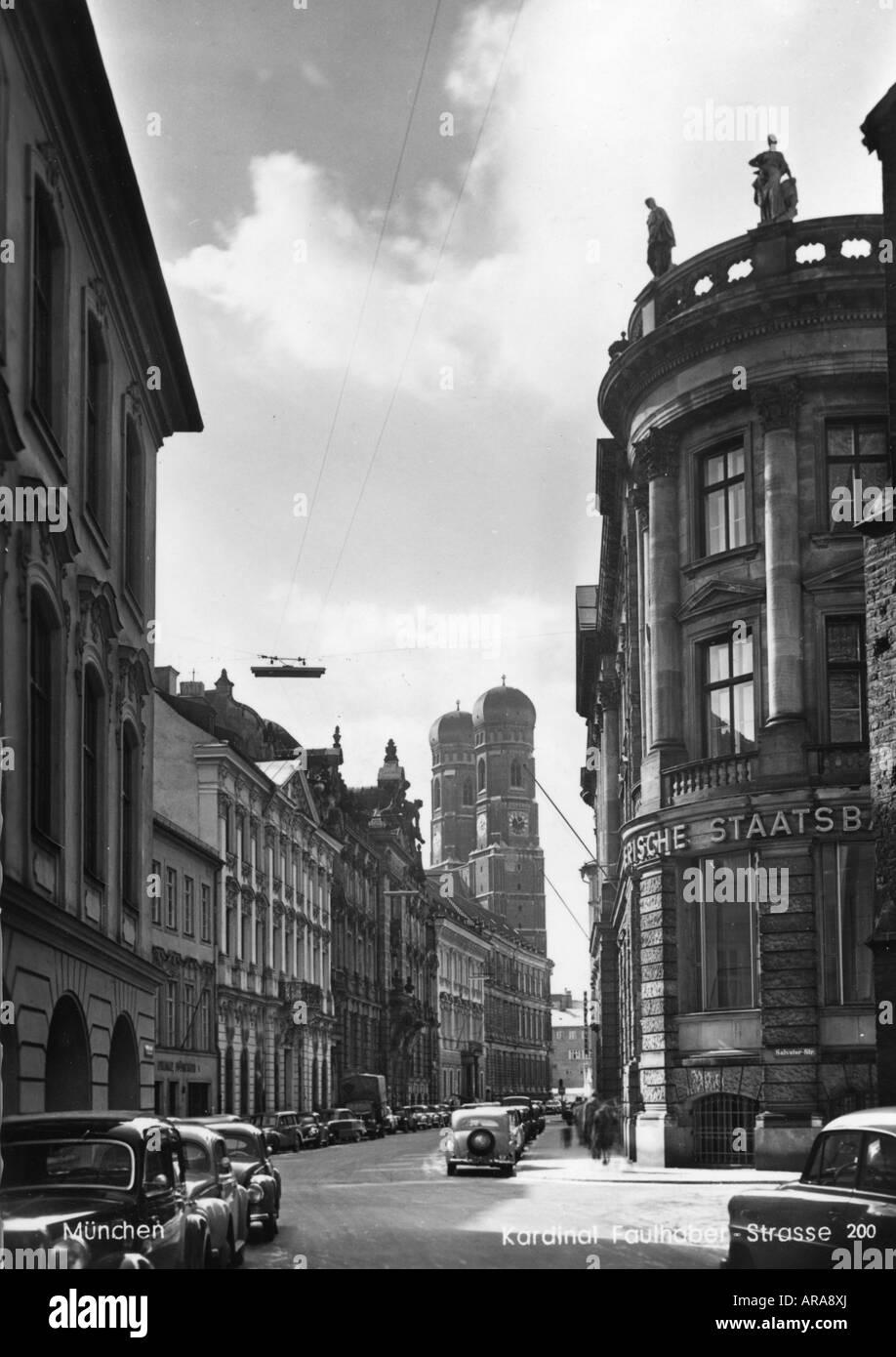 geography/travel, Germany, Munich, Kardinal-Faulhaber-Strasse, view, postcard, Zannantonio, 1950s, Stock Photo