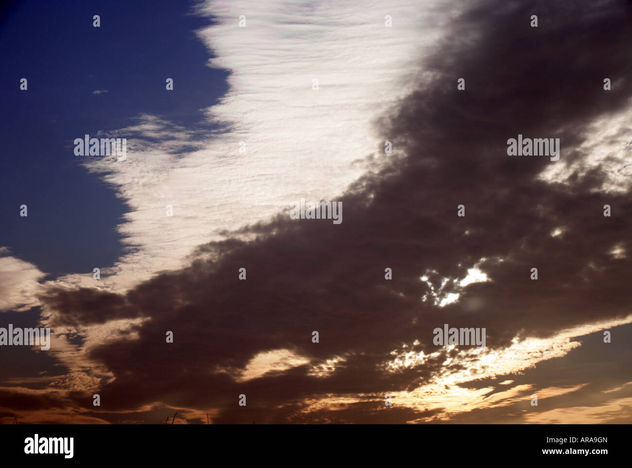 Irish sky February afternoon County Louth - Stock Image