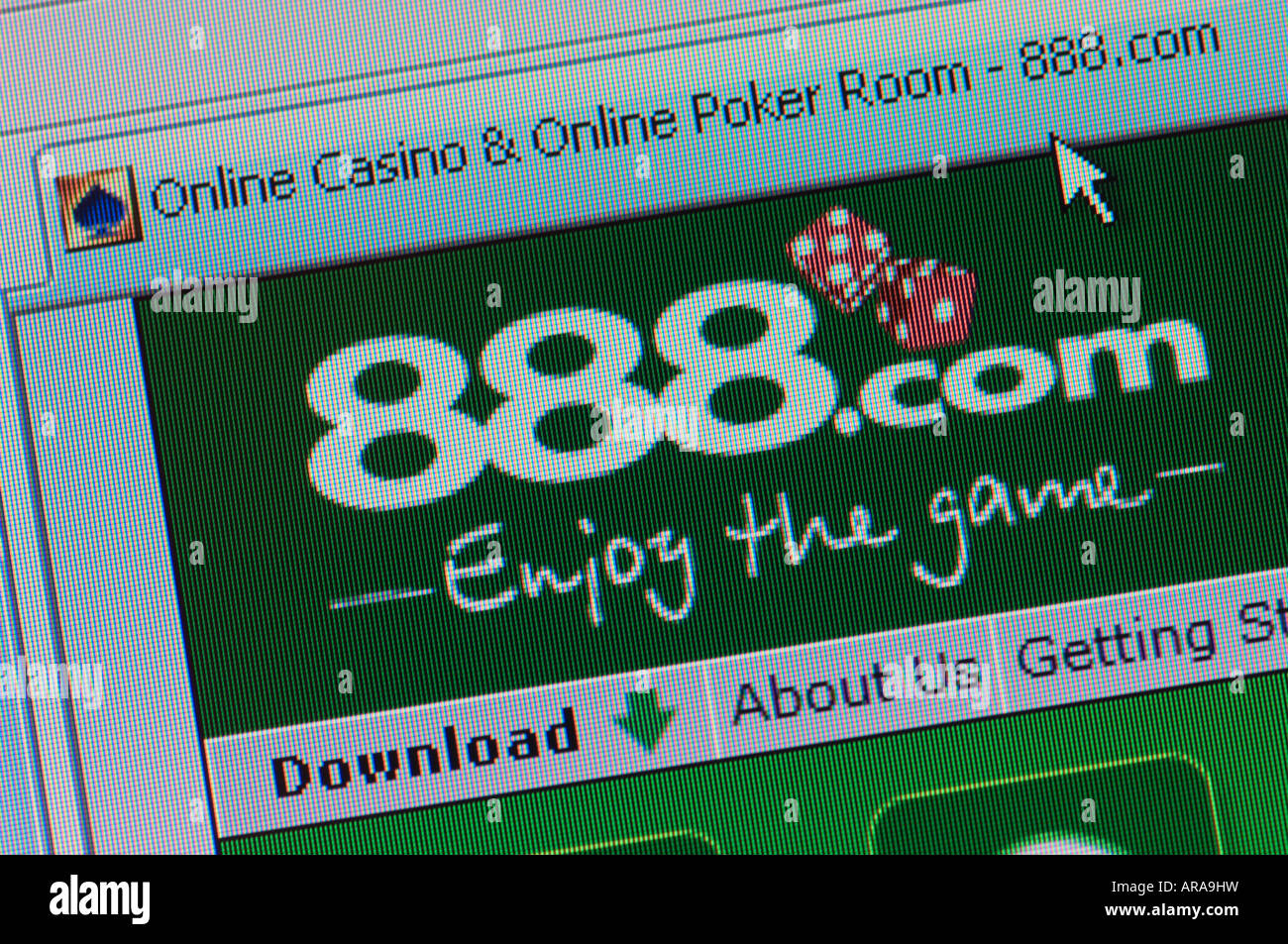 Macro screenshot of 888.com - the online casino and poker gaming website (Editorial use only) - Stock Image