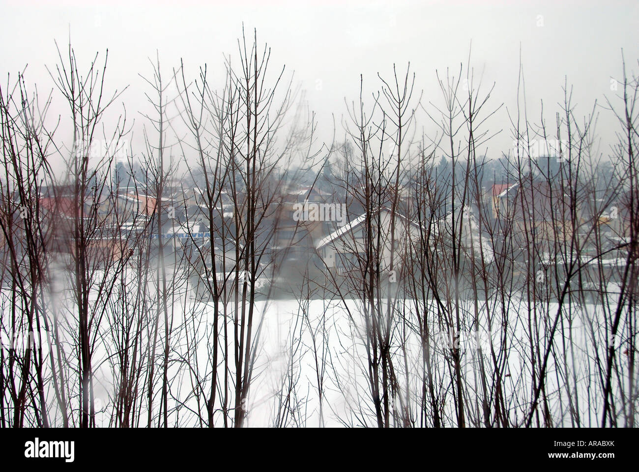 Winter scenery in arural area near Vrchlabi Czech - Stock Image