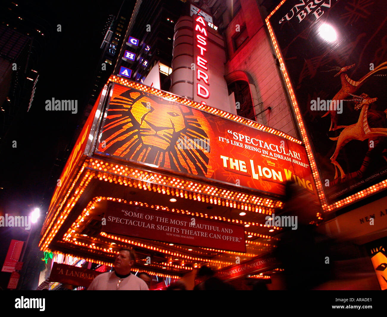 The New Amsterdam Theater In Times Square With The Disney Hit