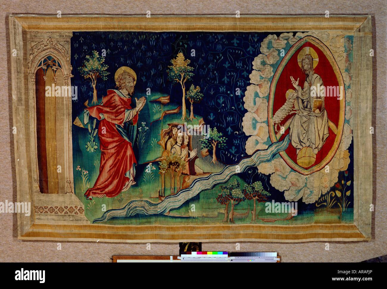 Angers Tapisserie der Apokalypse von Angers La Tenture de l'Apocalypse d'Angers Le fleuve coulant du trône - Stock Image