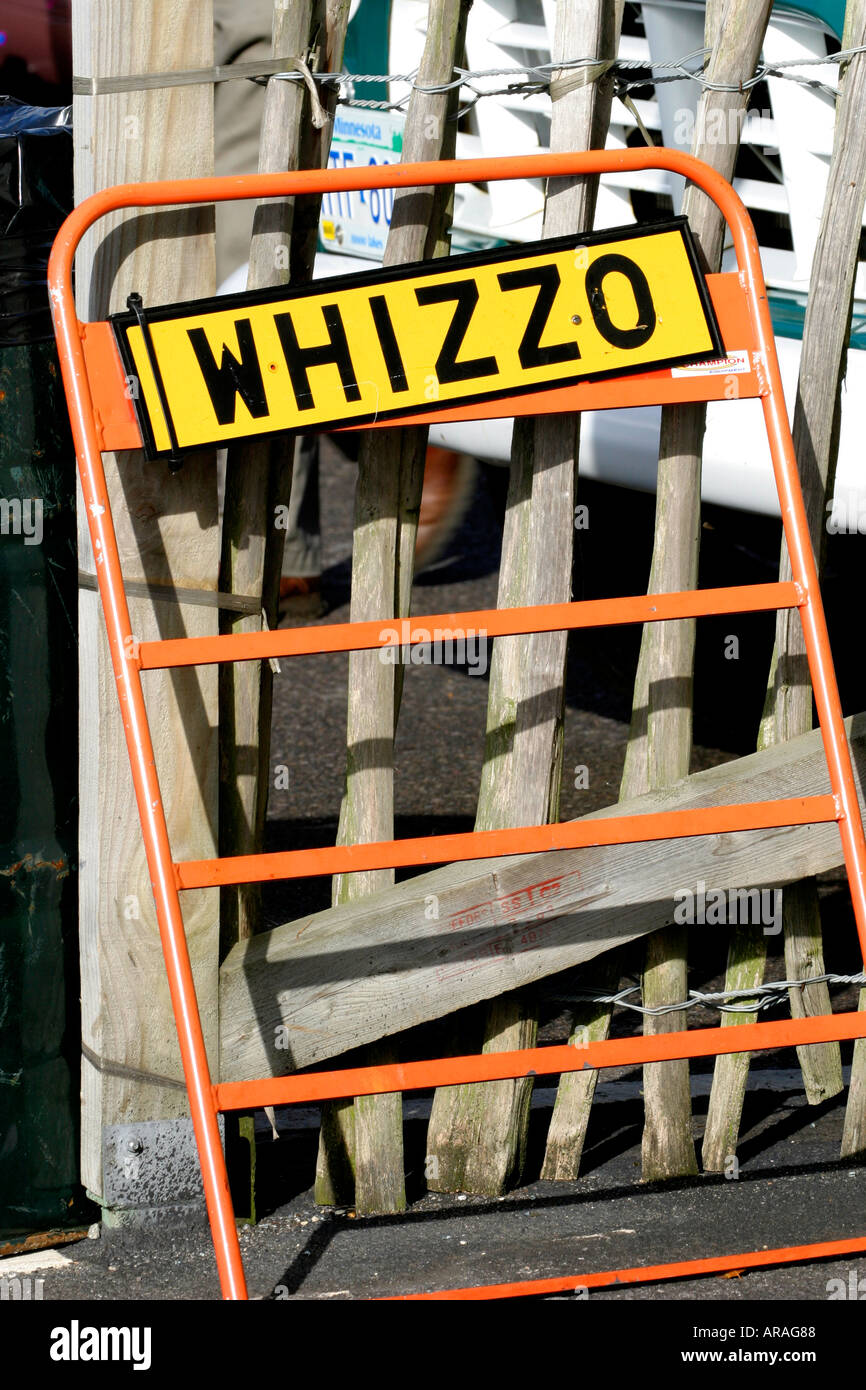 Whizzo Williams pit-board at Goodwood Revival, Sussex, UK Stock Photo