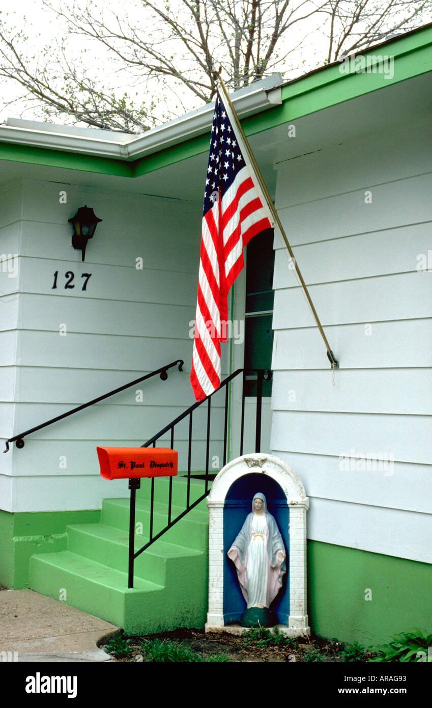 American Flag And Virgin Mary Statue Shrine In Home Garden Brandon