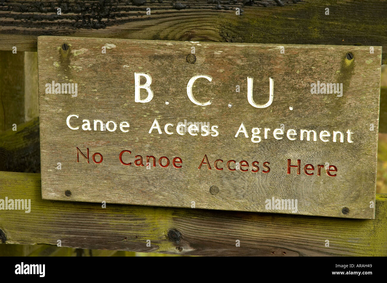 Sign On The Gate Informs People Of The Restriction On Canoe Access