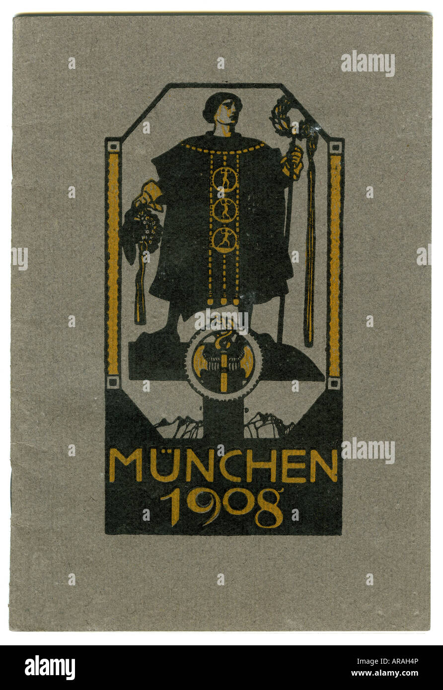 exhibitions, Munich 1908, leaflet, title, J. Schön publisher, Munich, , Additional-Rights-Clearances-NA - Stock Image