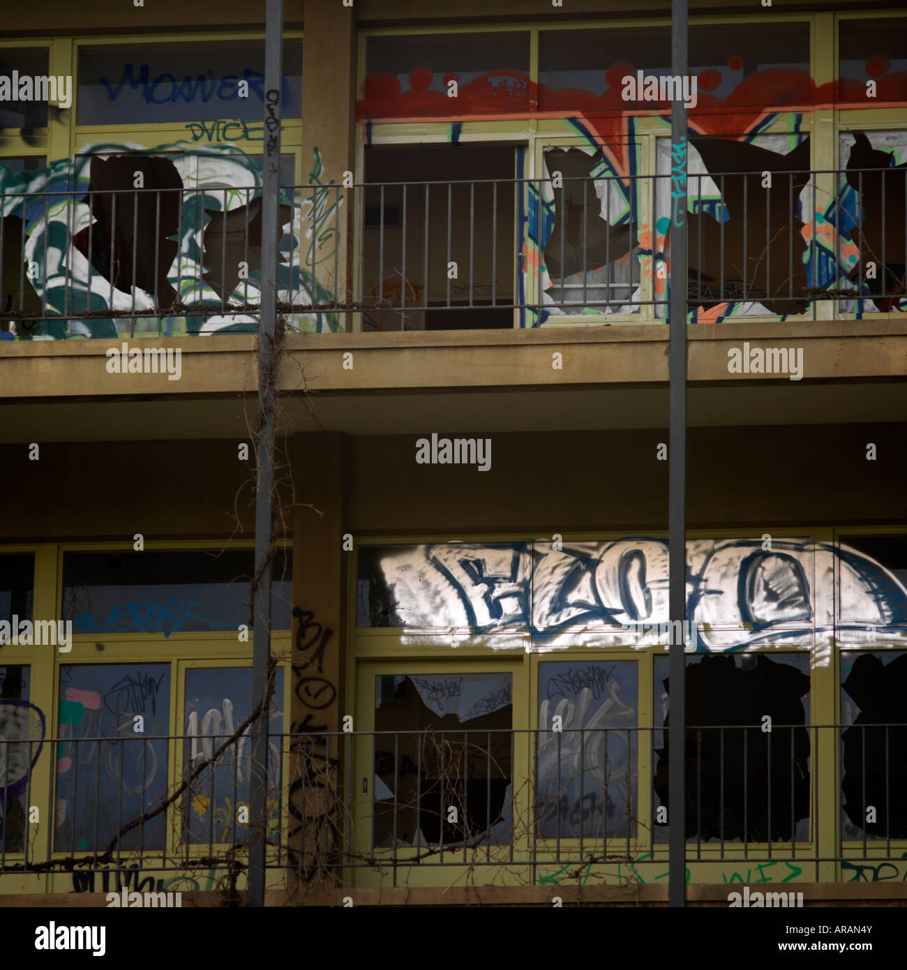 destroyed hospital with graffiti- the victim of government funding cuts and youth crime - Stock Image