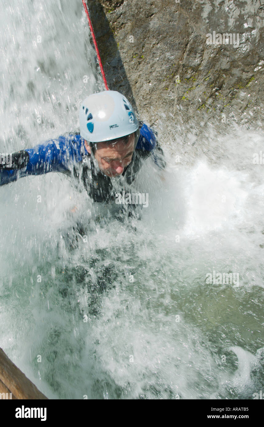 Canyoning in the Wiesbachl gorge above the Lechtal Lech valley Tirol Austria - Stock Image