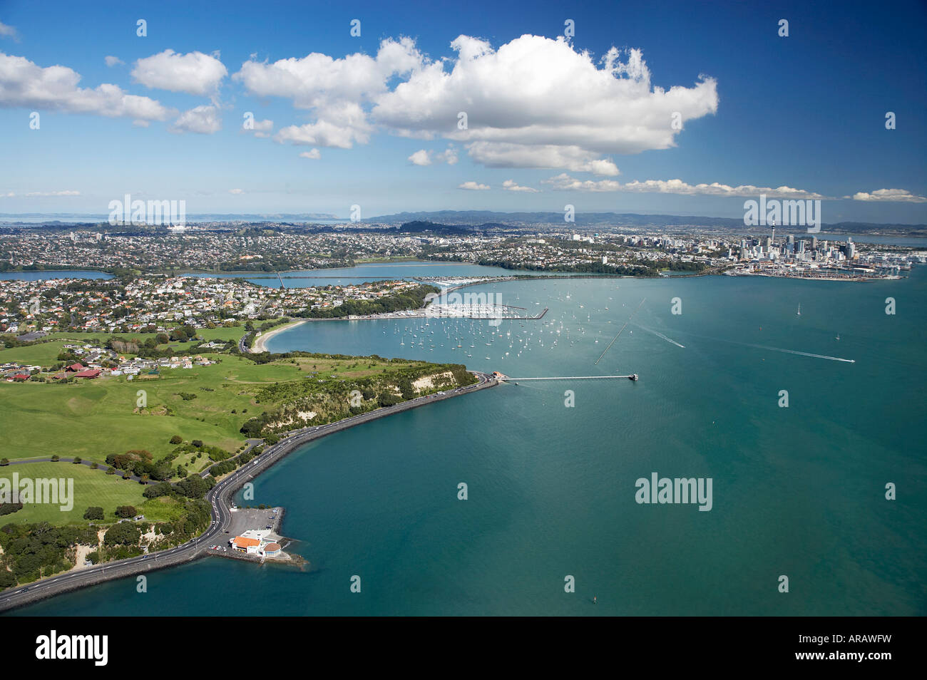 Bastion Point Auckland North Island New Zealand Aerial - Stock Image