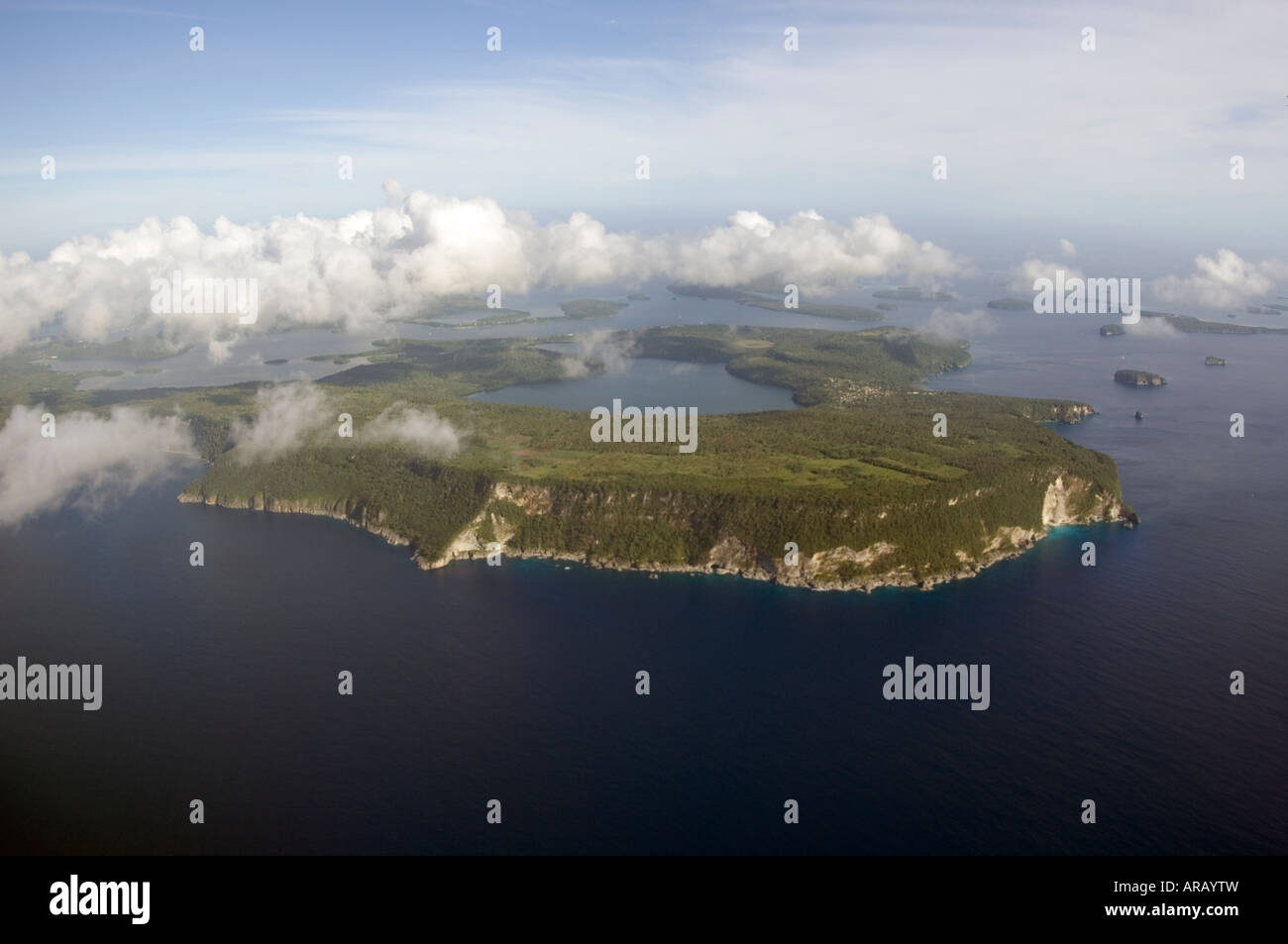 Aerial photograph of Vava u Kingdom of Tonga Vava u attracts whale watchers and sailors from around the world - Stock Image