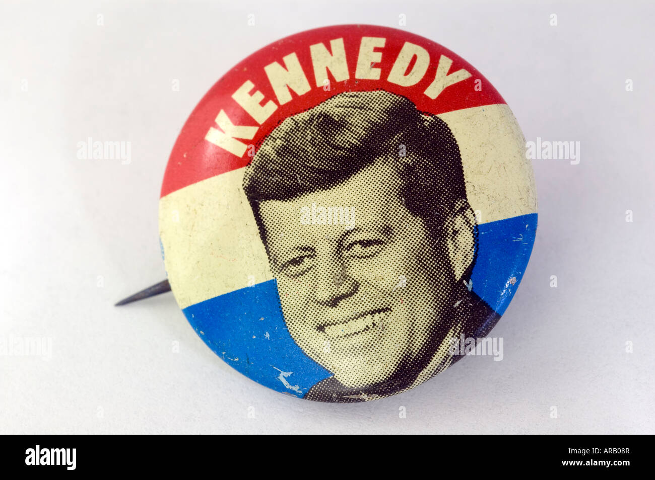 A John F Kennedy campaign button from the 1960 US presidential campaign - Stock Image