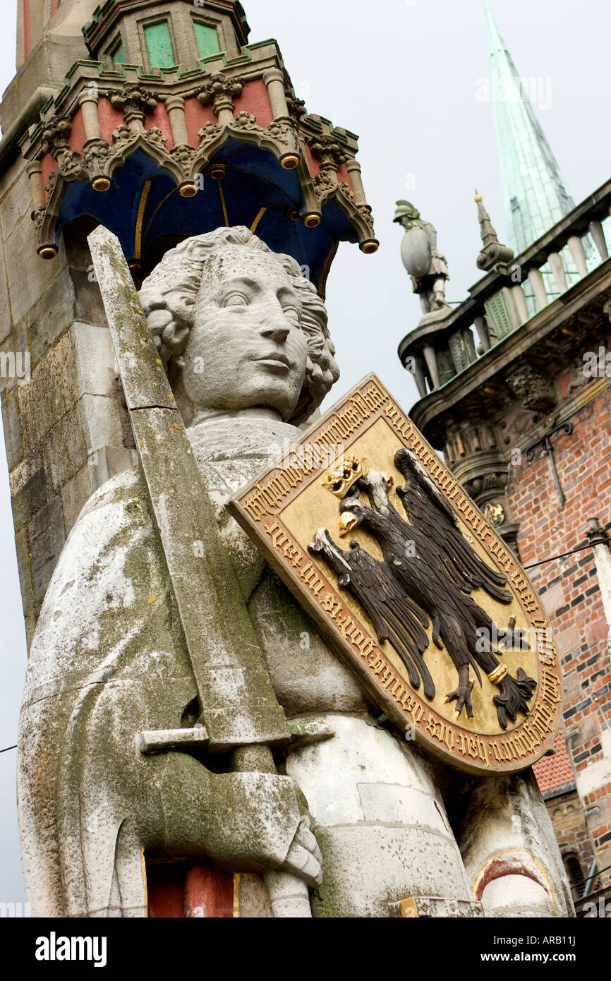 Roland Statue in Bremen Germany UNESCO World Heritage Site - Stock Image