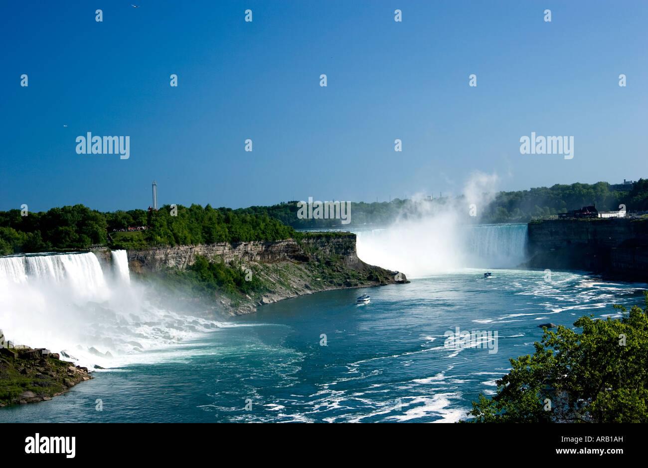 Niagara Falls Ontario Canada showing Canadian and American falls - Stock Image