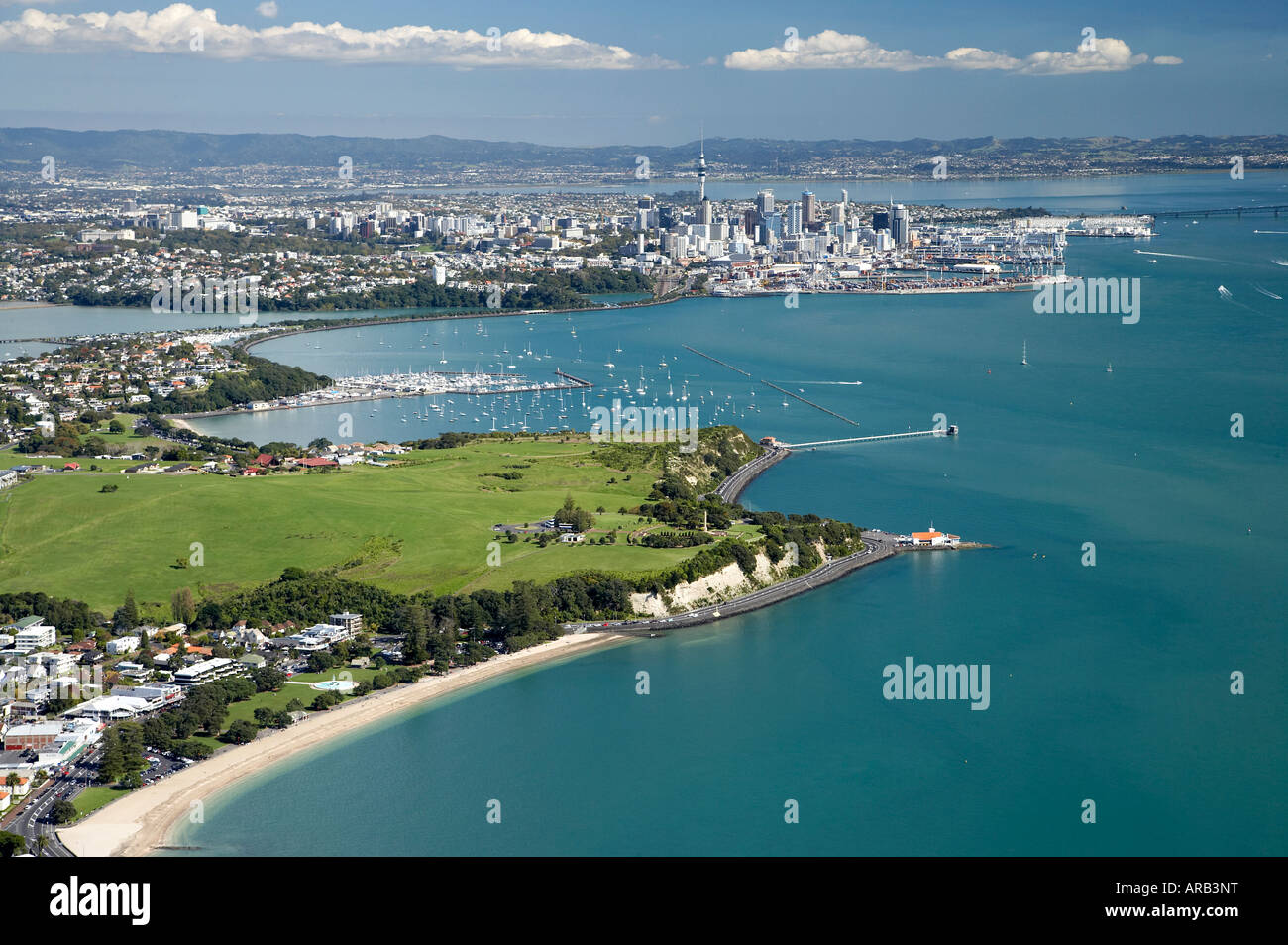 Mission Bay and Bastion Point Auckland North Island New Zealand Aerial - Stock Image