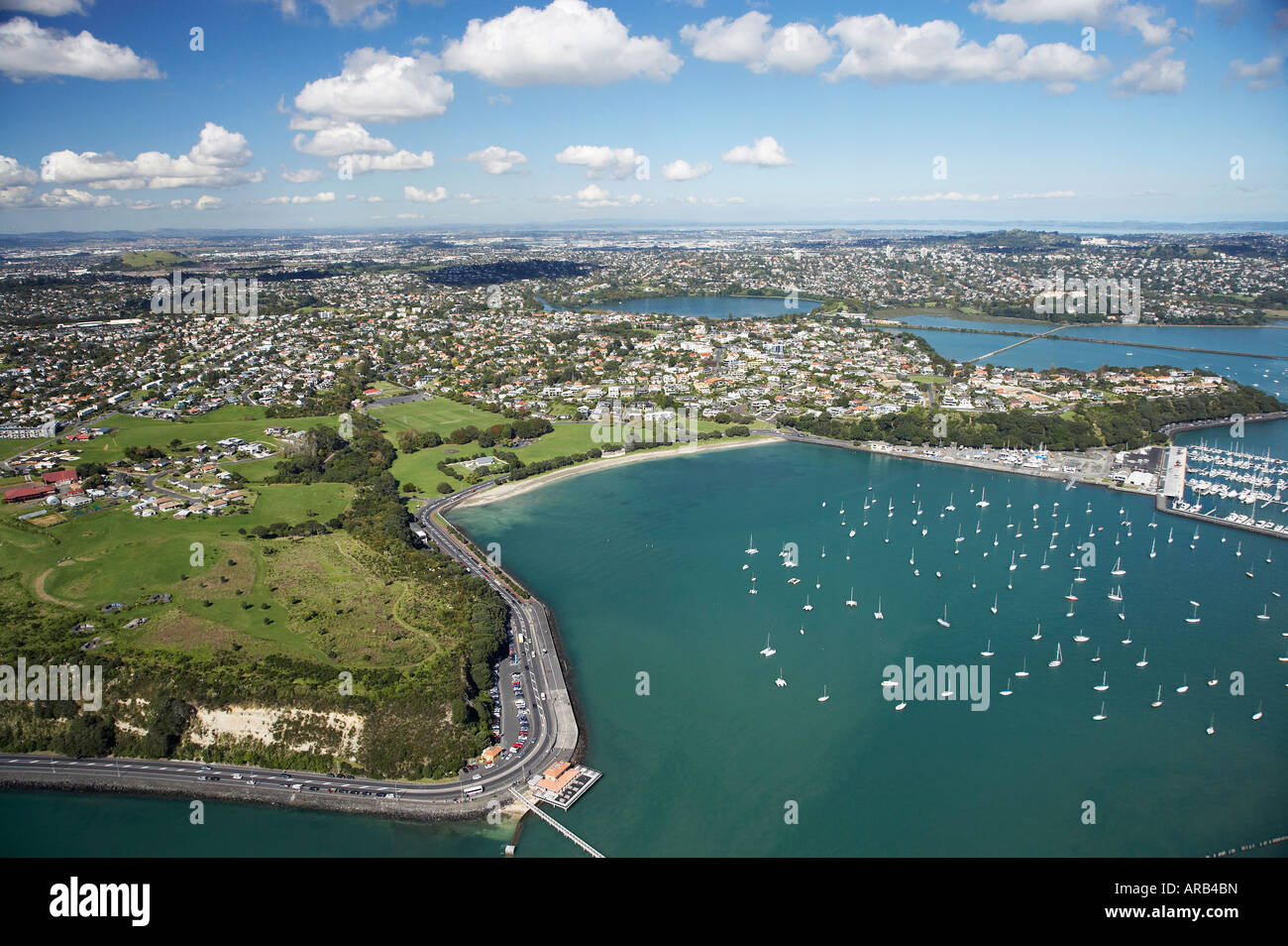 Okahu Bay Auckland North Island New Zealand Aerial - Stock Image