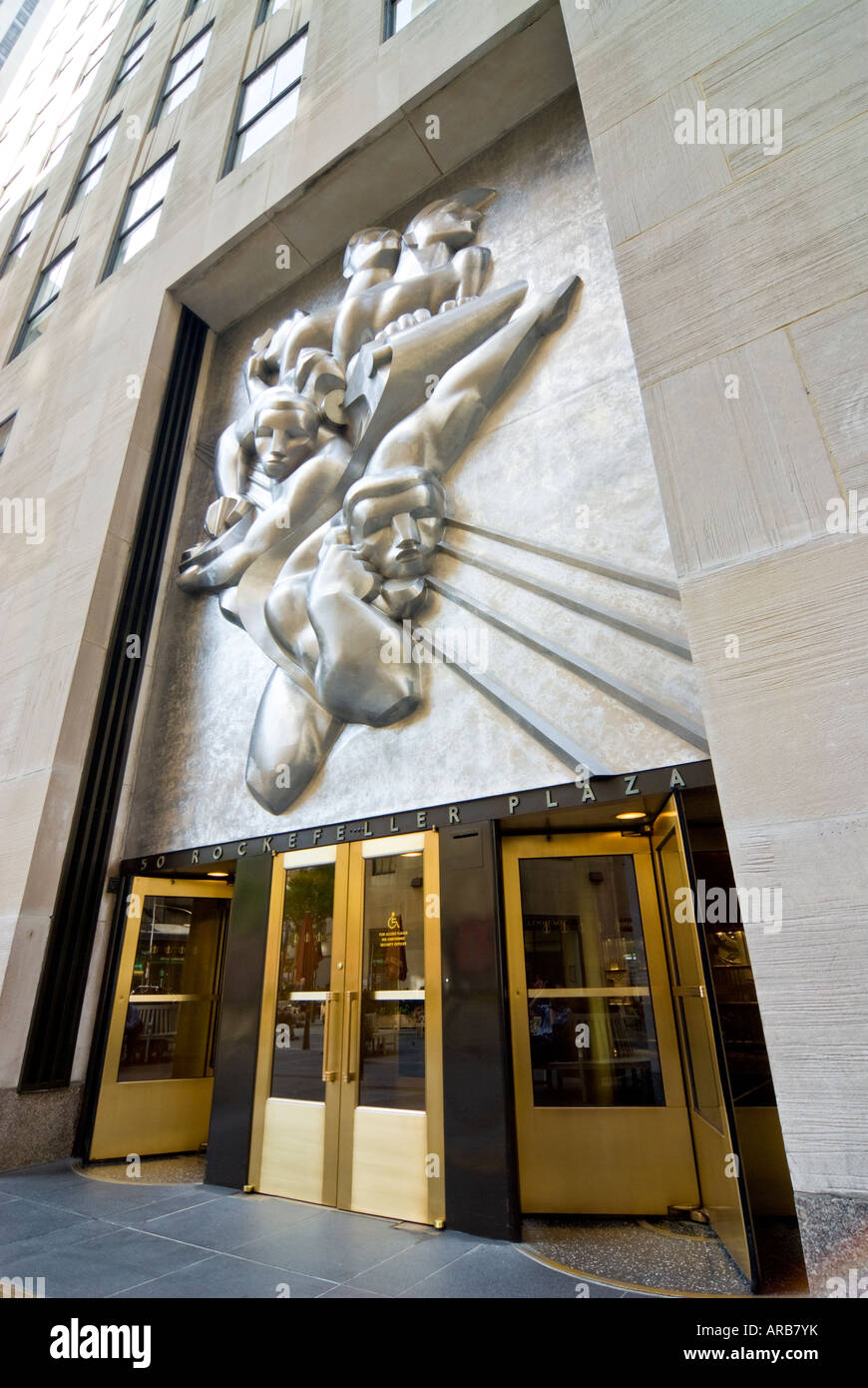News by Isamu Noguchi, Associated Press Building, Rockefeller Center, New York City - Stock Image