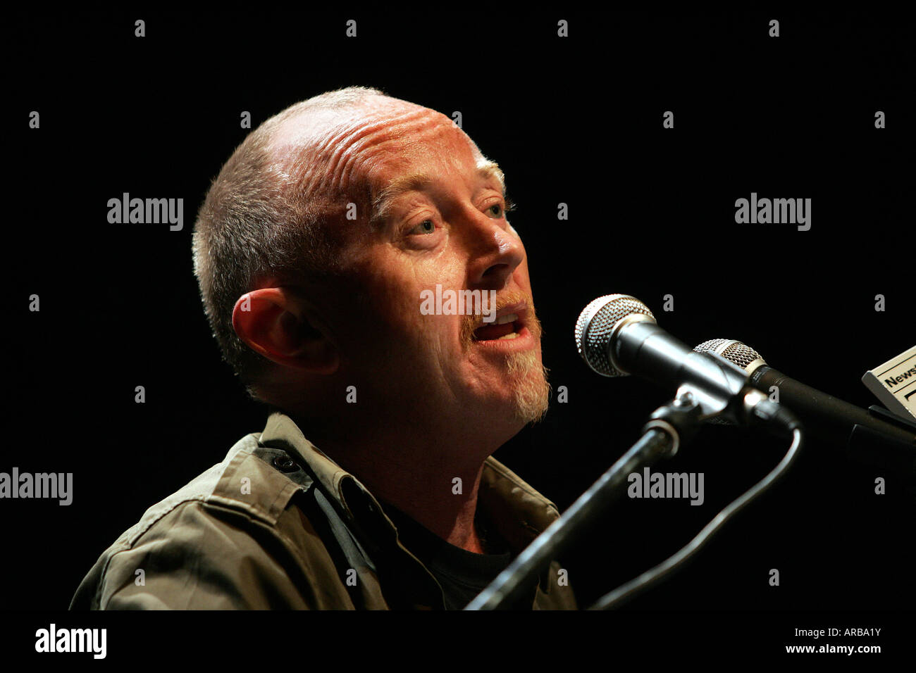 New Zealand icon Dave Dobbyn singing on stage at Nelson - Stock Image