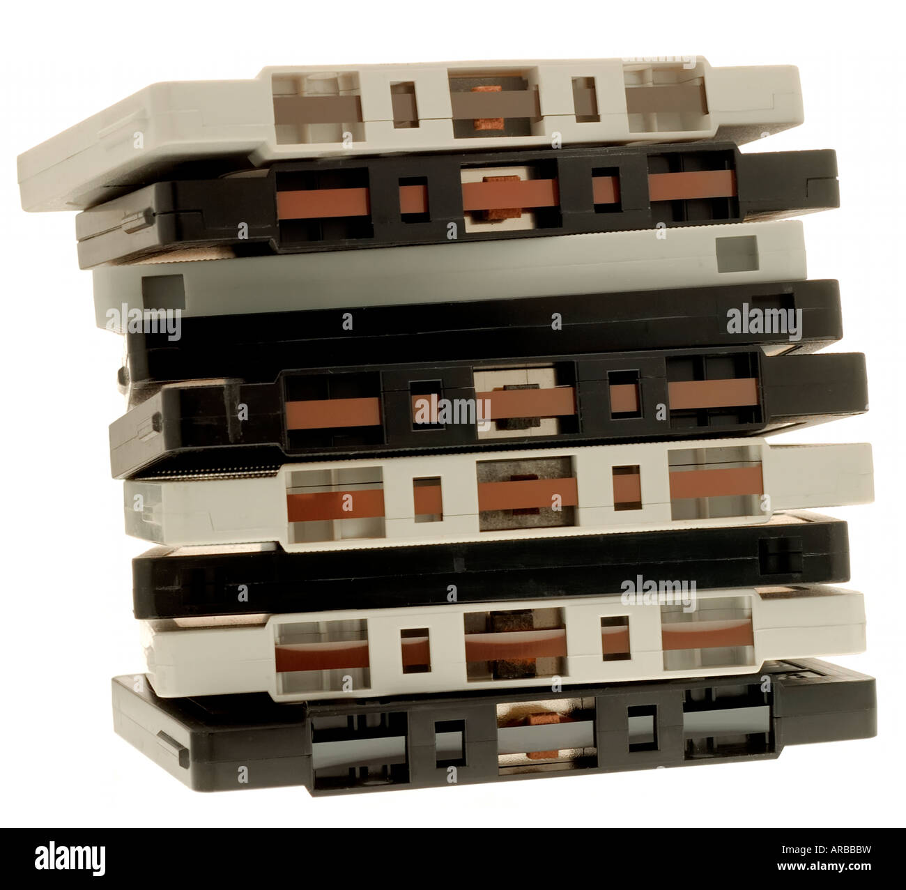 Stack of Cassette tapes - Stock Image