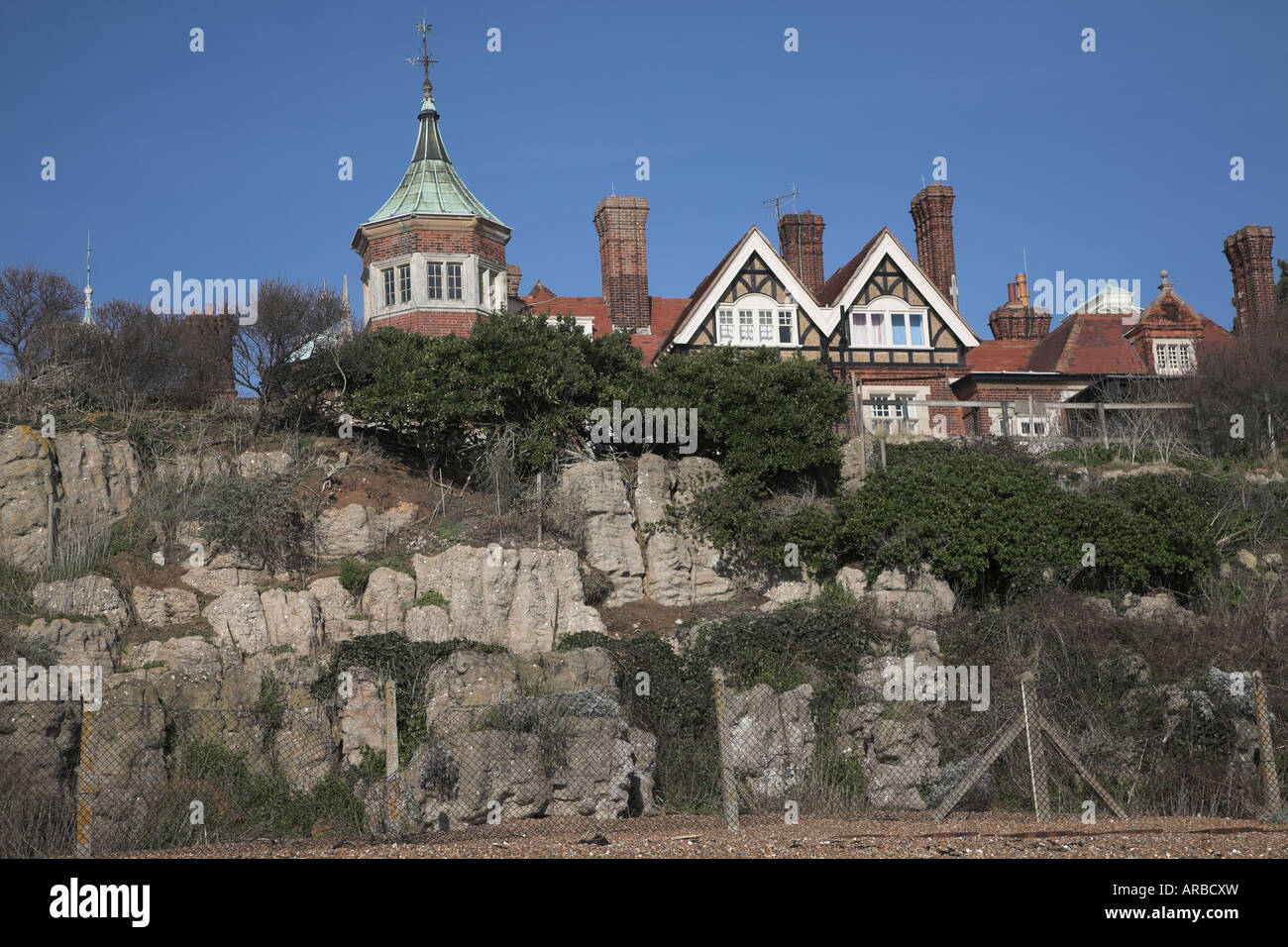 Pulhamite gardens fronting Bawdsey Manor viewed from the beach, Suffolk, England - Stock Image