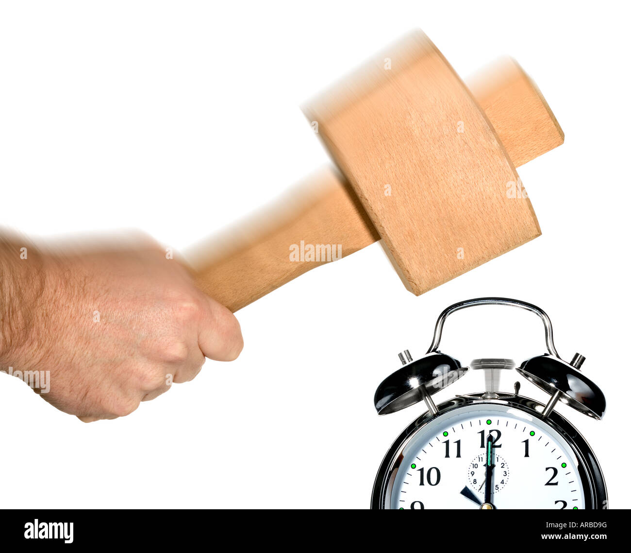 Concept image for turning off the alarm clock in the morning - Stock Image
