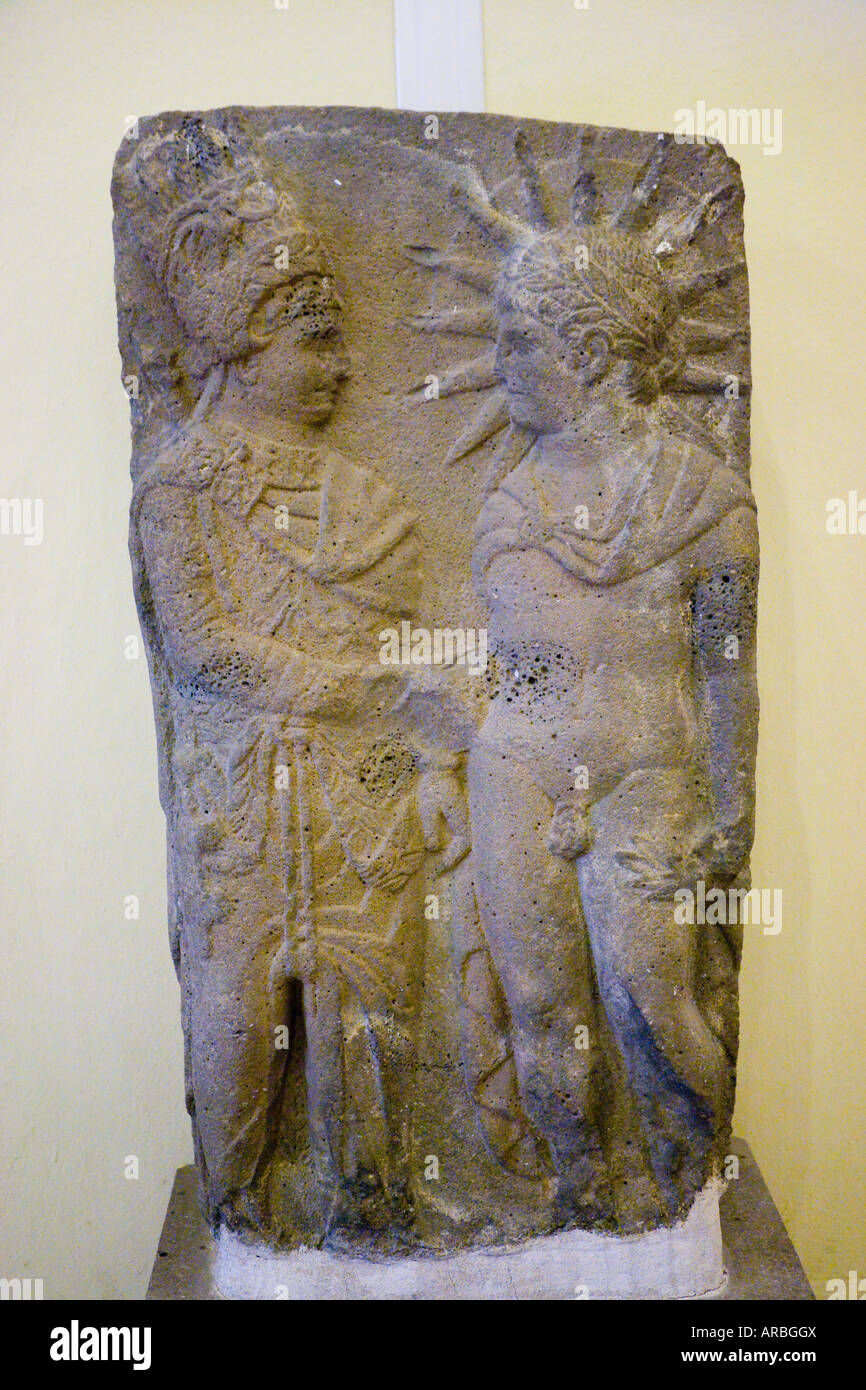 Bas relief of King Antiochus I Theos of Commagene shaking hands with God Mithras Archaeology Museum Gaziantep Antep - Stock Image