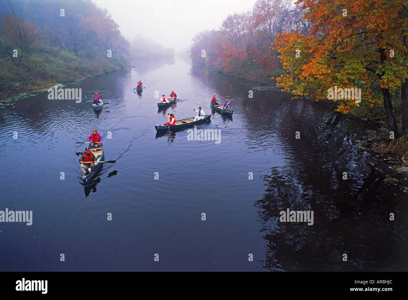 Canoes on the Connecticut River near Dartmouth College at Hanover, New Hampshire Stock Photo