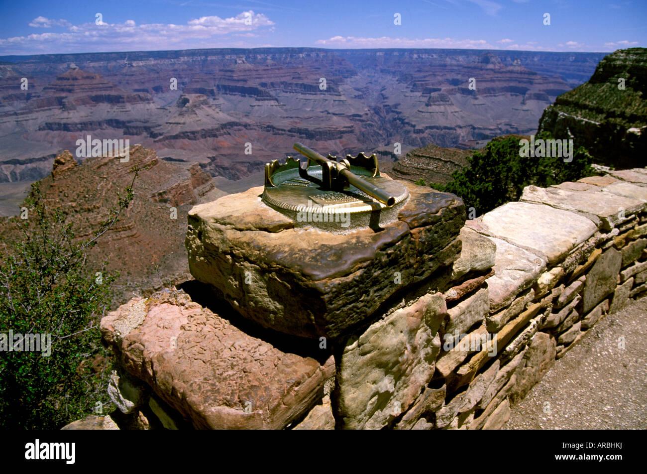 AZ Grand Canyon National Park Arizona sighting instrument at the South Rim erosion cliffs geology rocks arid Colorado - Stock Image