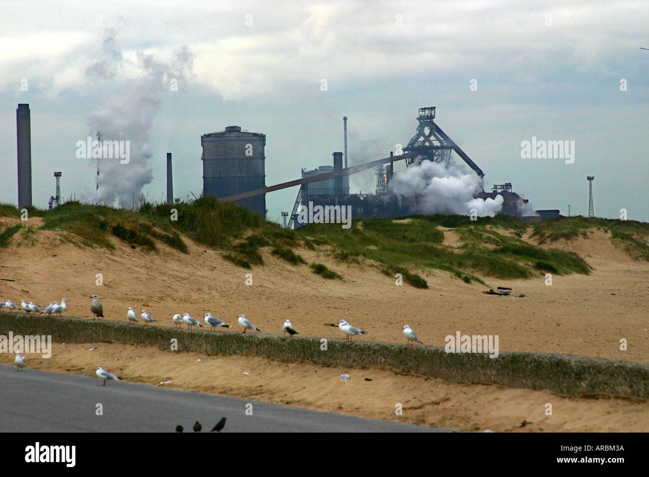 The large Corus steelworks with blast furnace at Redcar. - Stock Image