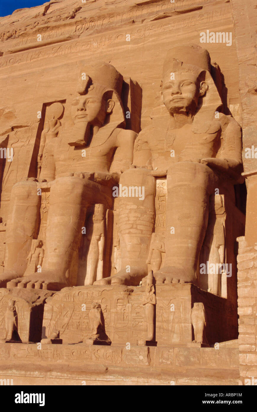 Temple of Re-Herakhte for Ramses II, moved when Aswan Dam built, Abu Simbel, Egypt, North Africa - Stock Image