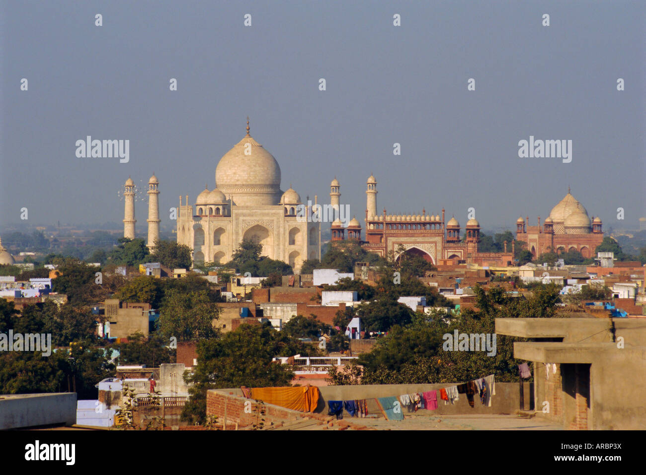 Taj Mahal on the banks of the Yamuna River, built by Shah Jahan for his wife, Agra, India - Stock Image